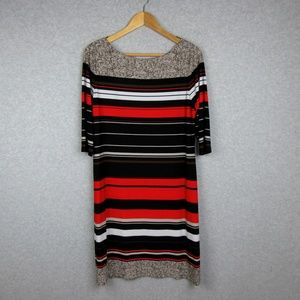 Womans Casual Dress Stretch Multicolor 3/4 Sleeve